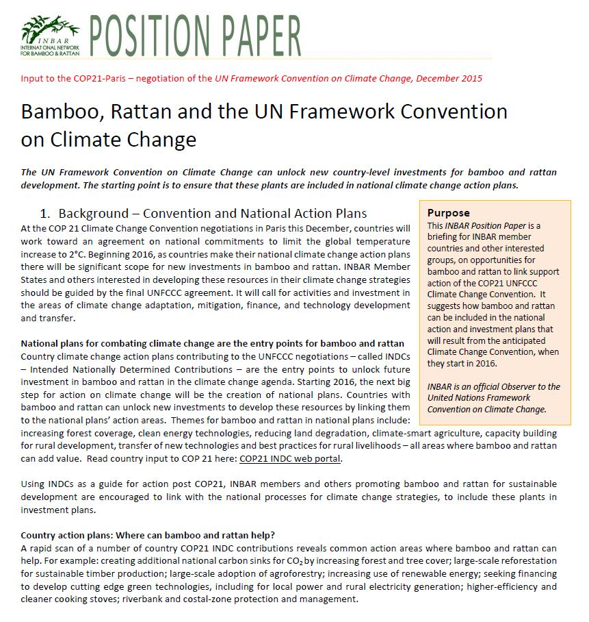 INBAR Position Paper – Bamboo, Rattan and the Convention on Climate Change