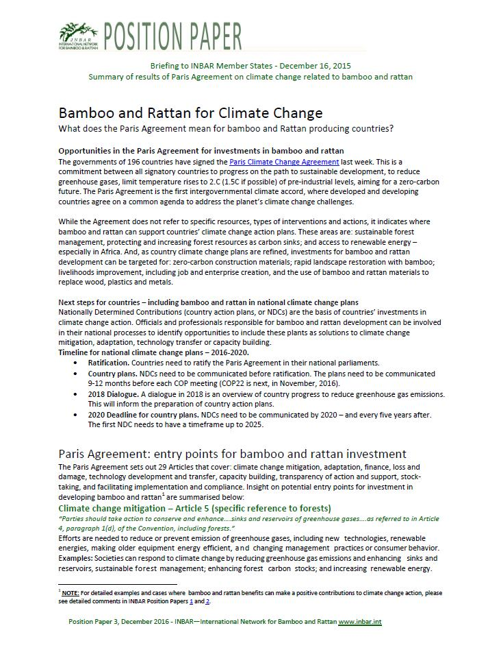 INBAR Position Paper – Paris Agreement: Next Steps for Bamboo and Rattan