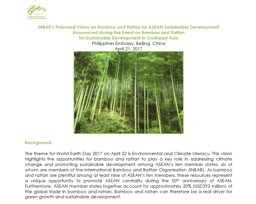 Vision for Bamboo and Rattan for ASEAN
