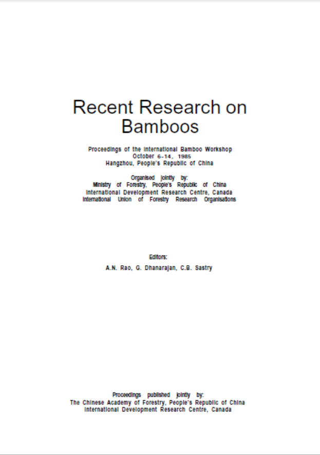 Recent Research on Bamboos (Part 1)
