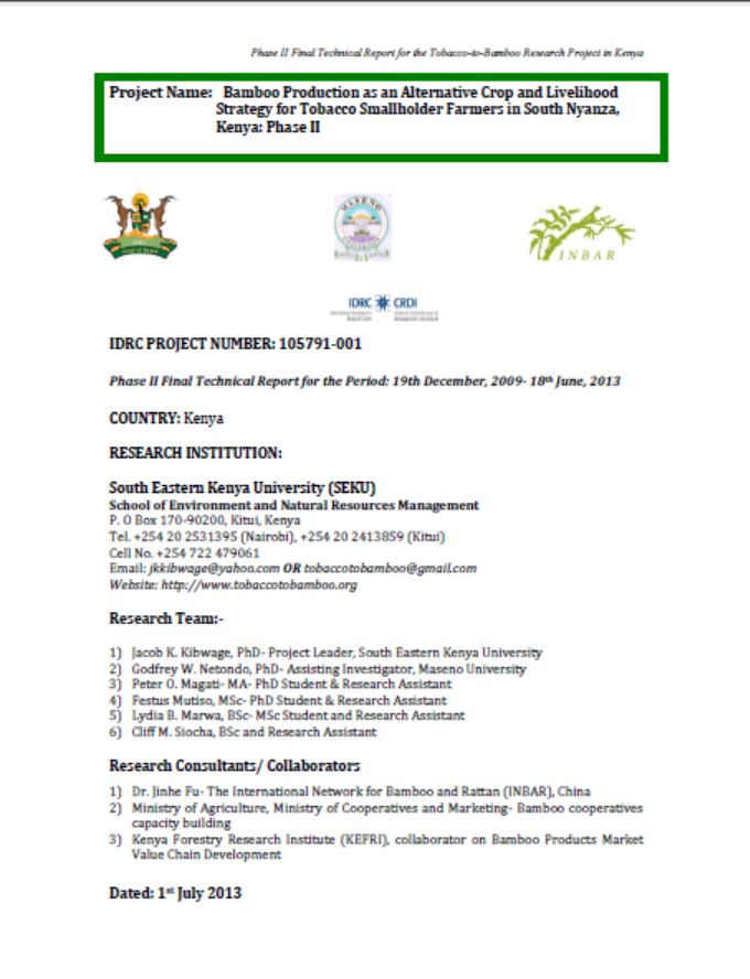 Bamboo Production as an Alternative Crop and Livelihood Strategy for Tobacco Farmers: Technical report
