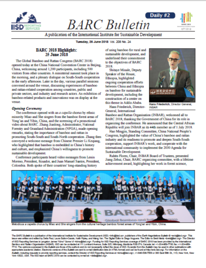 BARC Bulletin – Highlights from Day 1 of the Global Bamboo and Rattan Congress 2018