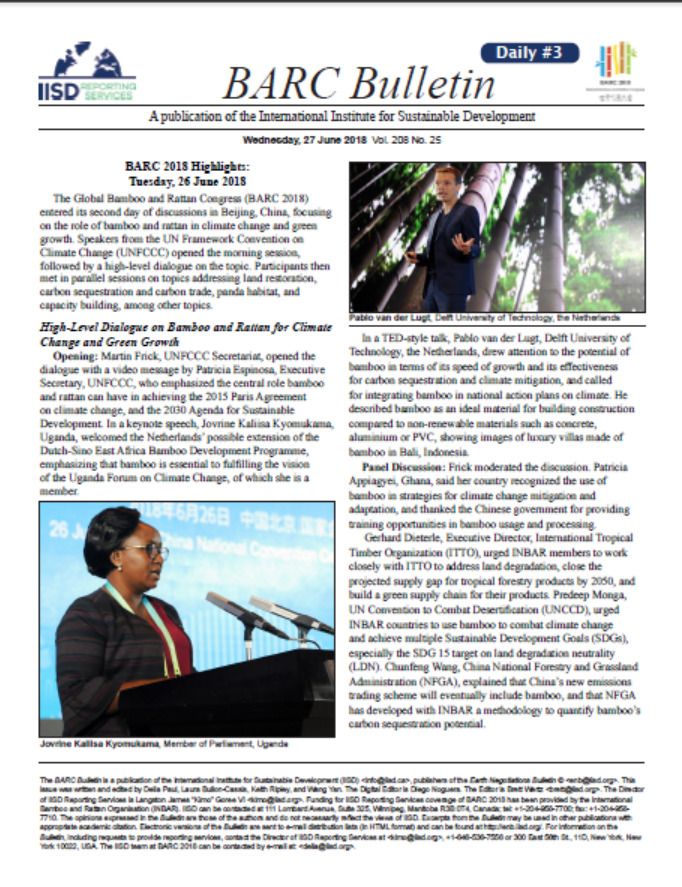 BARC Bulletin – Highlights from Day 2 of the Global Bamboo and Rattan Congress 2018