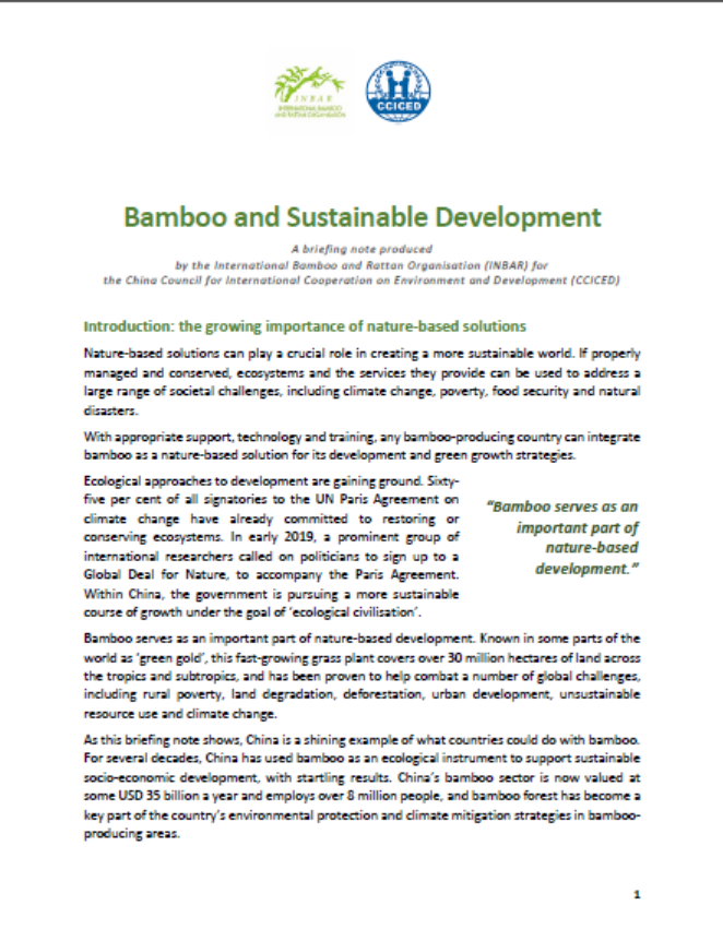 Bamboo and Sustainable Development: A Briefing Note for the CCICED
